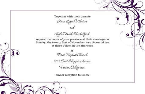 templates for wedding reception invitations free blank wedding invitation templates for microsoft word