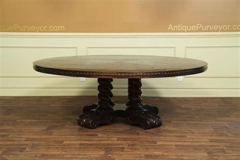 big round dining table large round walnut dining table rustic casual finish