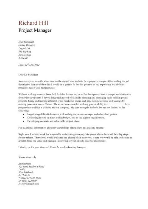 project manager resume cover letter a simple project manager cover letter that is eye catching