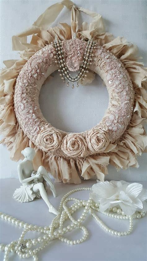 shabby chic rag wreath wreath fabric wreath country chic
