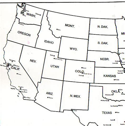 printable map of the western united states jf ptak science books big cities missing from the western
