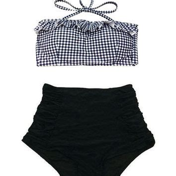 asos gingham print cotton frill bandeau bikinisimple accessories best gingham swimsuit products on wanelo