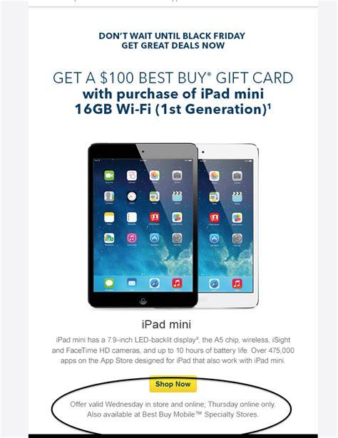 Ipad Gift Card Deals - best buy matches walmart black friday ipad mini deal online updated