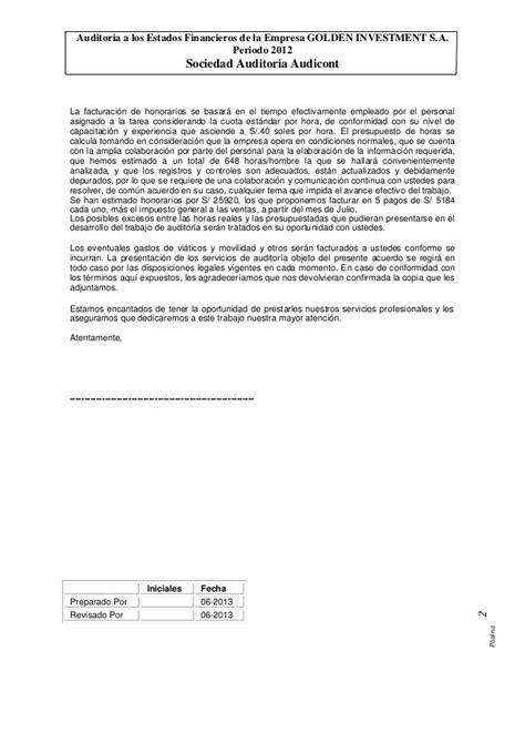 carta compromiso de la propuesta economica carta propuesta auditoria