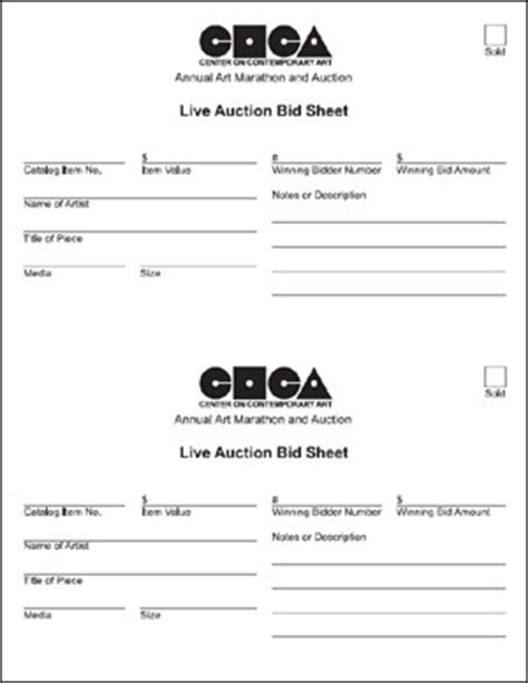 live bid auction coca auction forms
