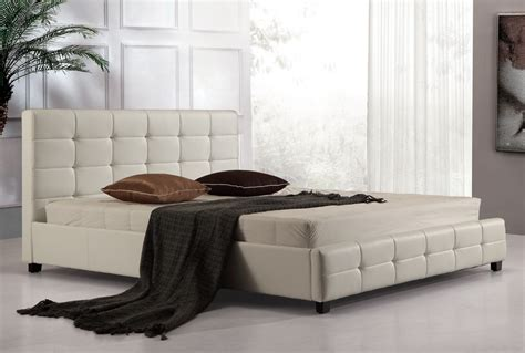 White Leather King Bed Frame King Pu Leather Deluxe Bed Frame White