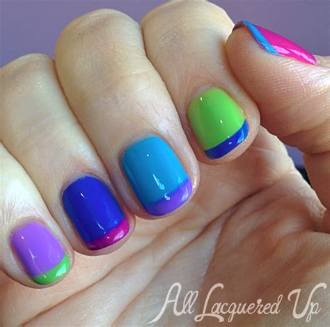pedicure color summer 2014 multi color french with essie neons 2014 for manimonday