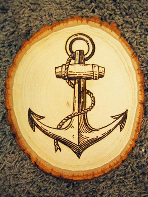 ship anchor wood burning
