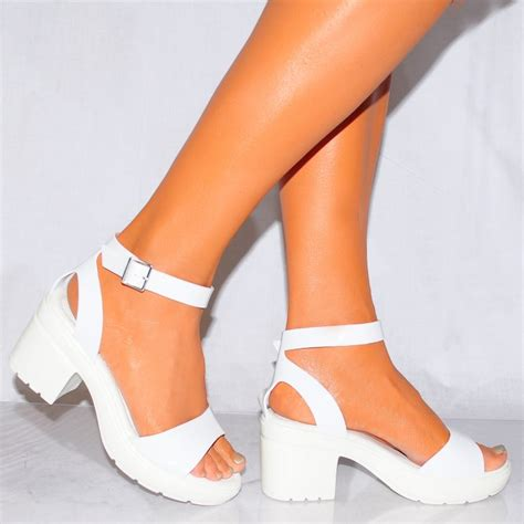 womens white high heels womens white strappy cleated platforms block heel sandals