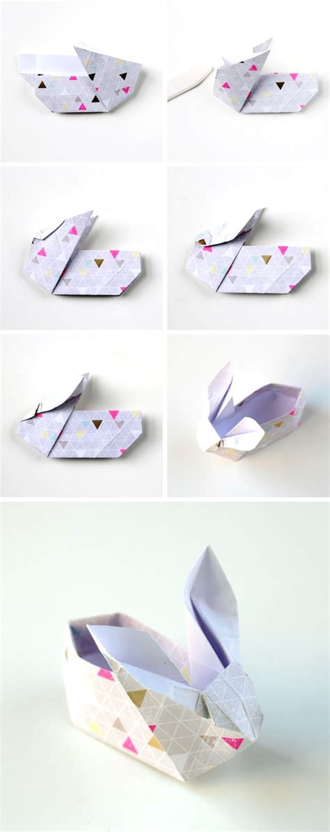 How To Make A Origami Easter Bunny - diy origami easter bunny baskets gathering