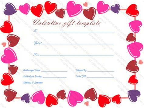 valentine gift certificate templates