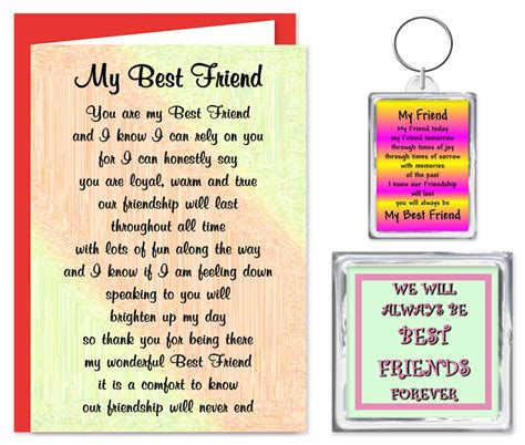 Verses For Friends Birthday Cards Best Friend Verse Gift Set Card Keyring Magnet