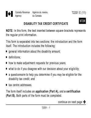Forms Disability Tax Credit Canada Revenue Agency Disability Tax Credit Certificate 6729 Fill Printable Fillable