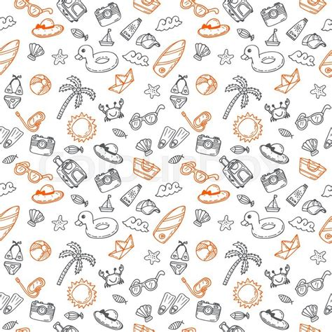 pattern background sketch hand drawn seamless summer pattern with beach icons