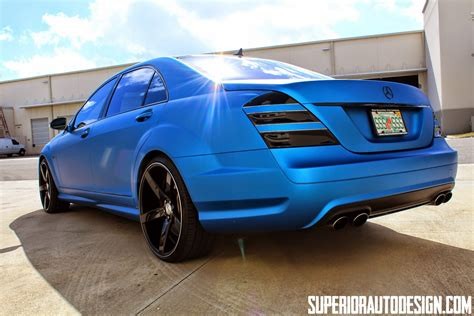 blue mercedes mercedes w221 s63 amg blue matte with vossen wheels