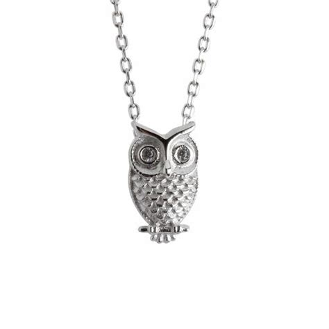 Owl Necklace, Sterling Silver Owl, Cubic Zirconia Eyes