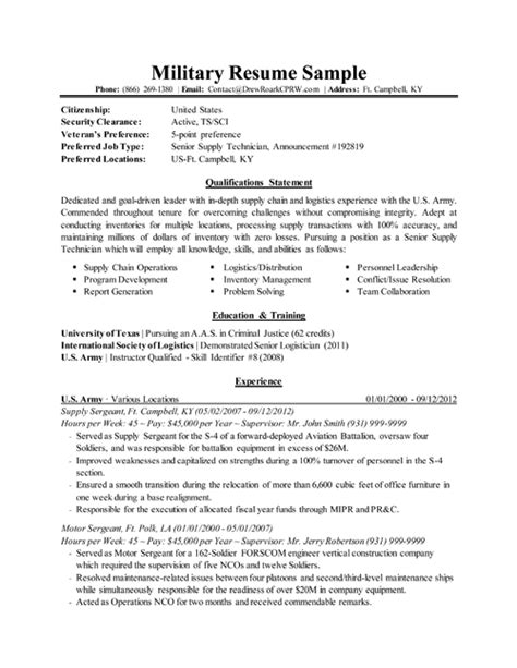 professional executive military resume sles by drew