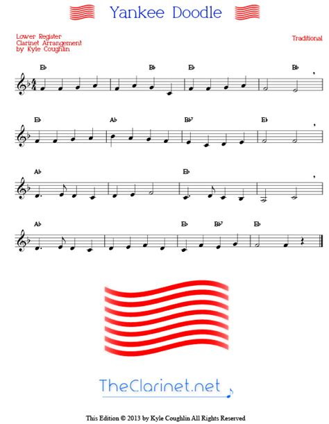 yankee doodle free mp3 sheet for clarinet free printable 1000