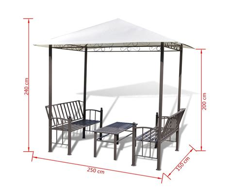 Garden Pavilion With Table And Benches 2 5x1 5x2 4 M