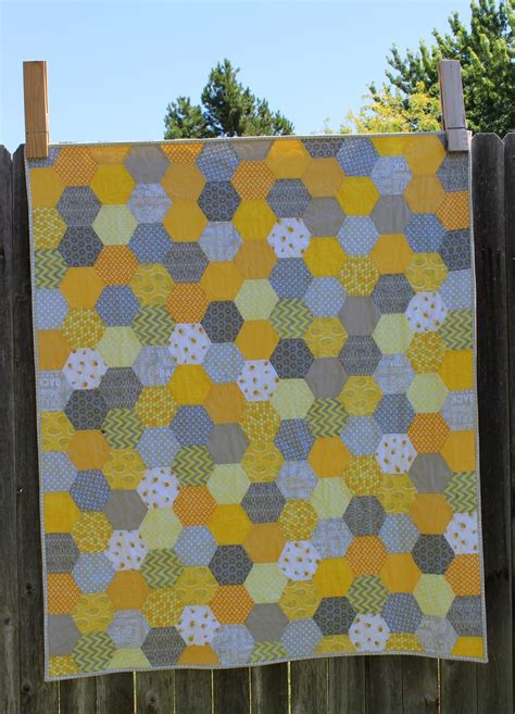 yellow quilt pattern porch swing quilts friday finish yellow and grey hexie