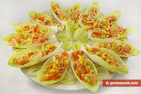 come cucinare l insalata belga indivia belga con salmone e mais antipasto per natale