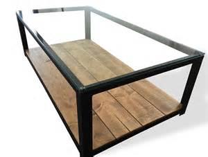 table basse en acier bois et verre meubles et
