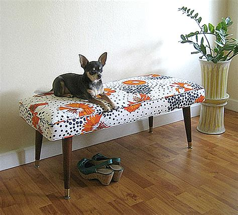 fabric covered bench decorating with patterned upholstered furniture