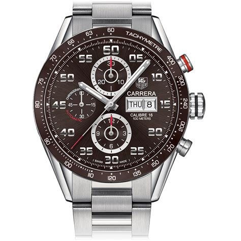 Tag Heuer F1 Calibre 16 Chrono Brown Silver White the global db