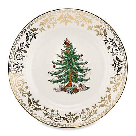 buy spode 174 christmas tree gold dinner plate from bed bath