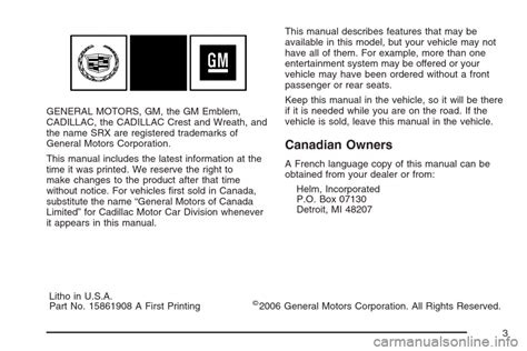 Cadillac Srx 2007 1 G Owners Manual