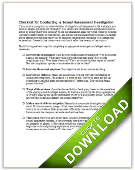 checklist for conducting a sexual harassment investigation