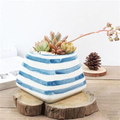 white modern planter modern blue white ceramic planter