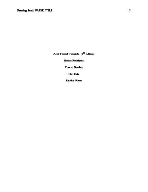 apa cover sheet format apa 6th edition cover page template