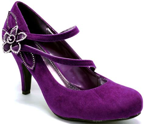 purple flower shoes new s shoes purple suede like flower rhinestones