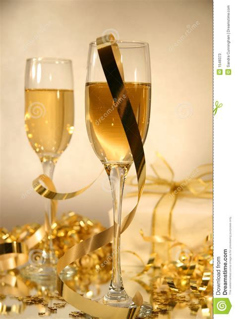 Champagne and ribbons stock image. Image of gold, birthday