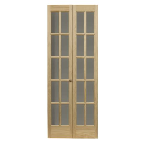 Lowes Folding Closet Doors Shop Pinecroft 10 Lite Solid Pine Bifold Closet Door Common 30 In X 80 5 In