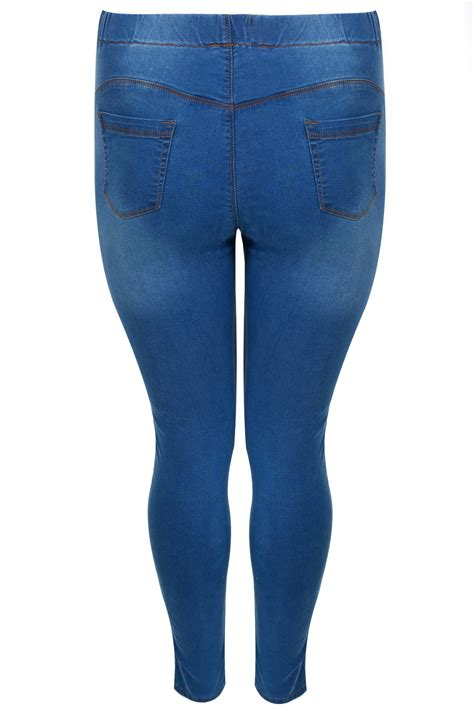 best 32 in tv for 200 mid blue pull on stretch shaper jeggings plus size 16 to 32