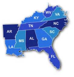 map of the southeast united states southeast region states and capitals quiz