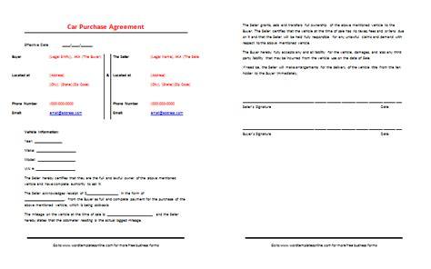 Car Purchase Agreement Template Best Sles Vehicle Buy Sell Agreement Template