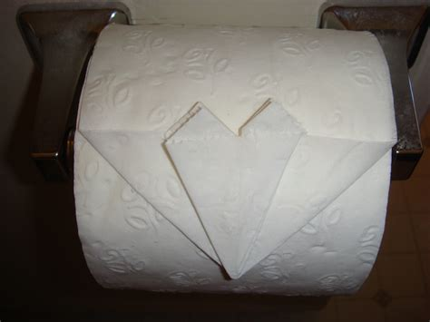 Toilet Paper Folds - how to fold a toilet paper origami firehow