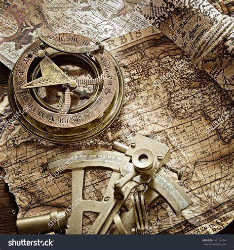 sextant quotes vintage still life with compass sextant and old map stock