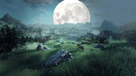 landscape green fantasy art moon  legend  zelda