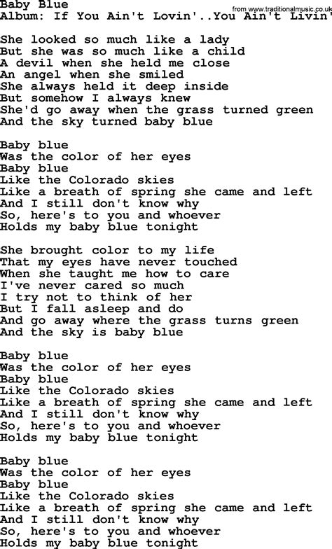 song from blue baby blue by george strait lyrics