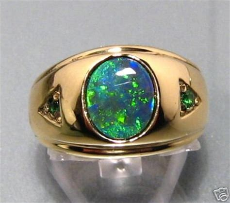 mens opal and emerald ring in 14k gold a design made