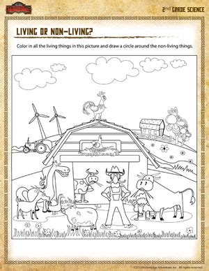 living or non living free 2nd grade science worksheet