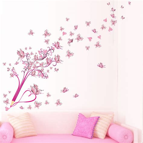 Papel De Pared Decorativo #2: Flying-Flower-Floral-Pencil-Butterflies-Wall-Stickers-For-Kids-Rooms-Decals-Bedroom-TV-Sofa-Background-Decor.jpg