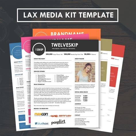Lax Media Kit Template Hip Media Kit Templates Marketing Kit Template