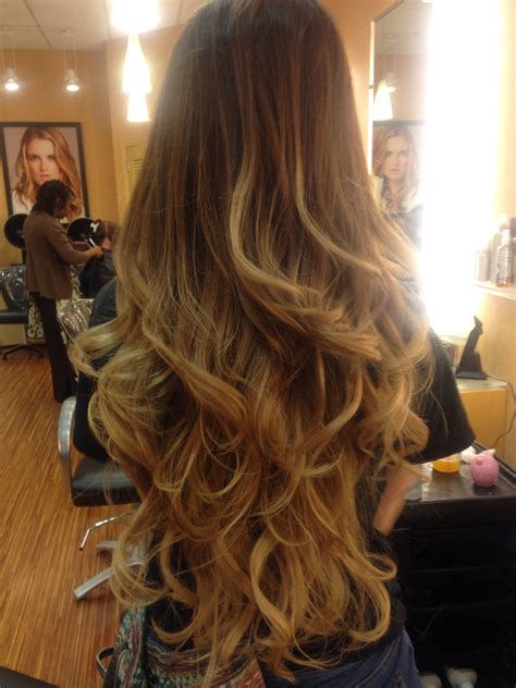 layering just ends of hair ombre i did on a client with very long hair used a 6m in
