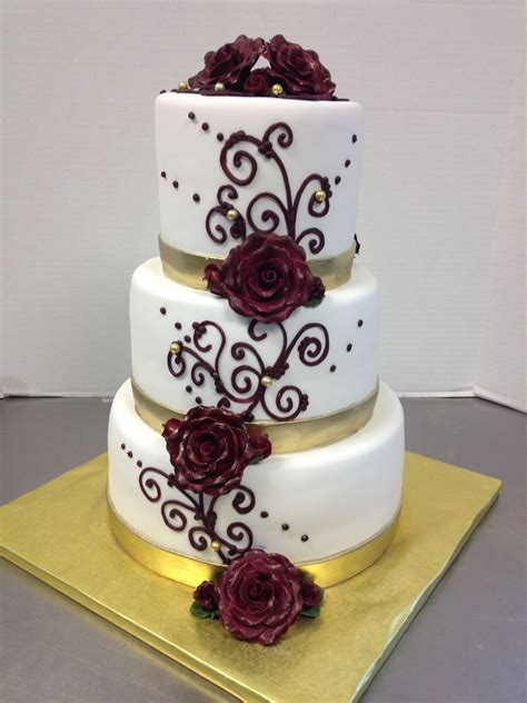 Wedding Cakes Az by Burgundy Scroll Gold Ribbon Wedding Cake Az Cakes By