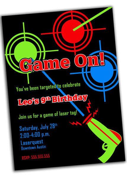 printable birthday invitations laser tag laser tag party invitation printable digital file by khudd